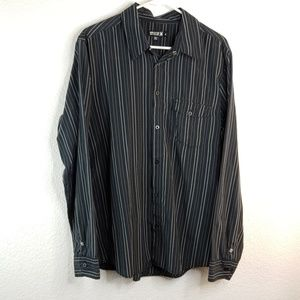 Hurley button down large long sleeve striped